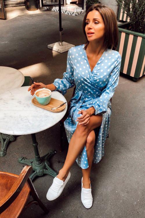 бирюзовое платье в горох
