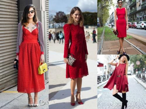 красное миди платье