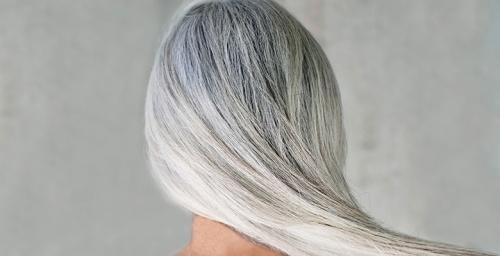 Окрашивание всех волос в седой цвет