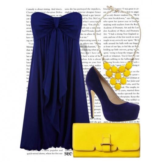 синее платье с желтым