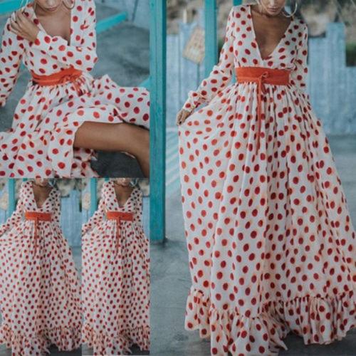 Длинное «в пол» платье в горошек