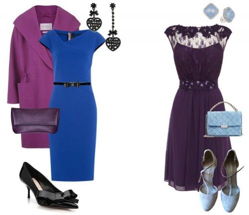 синее платье с фиолетовым