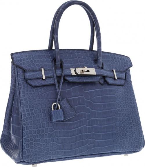 Сумка Matte Brighton Blue Porosus Crocodile Birkin Bag