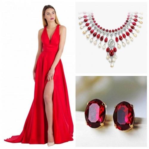 украшения для  красного платья