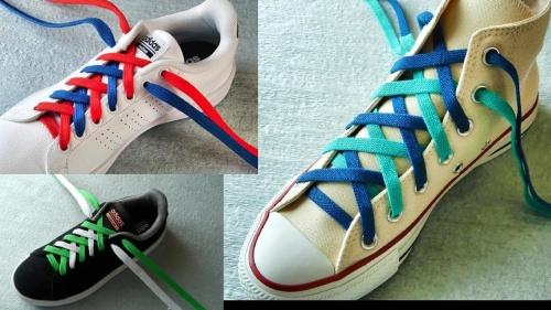 Разноцветная перекрёстная шнуровка