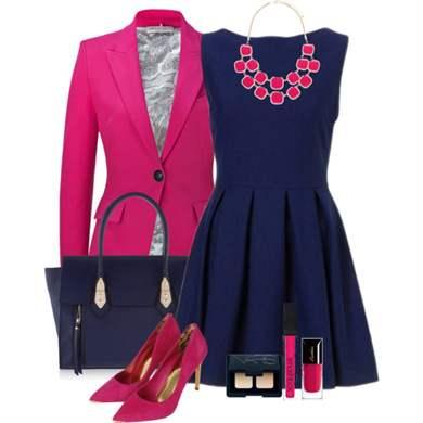 синее платье с розовым